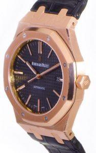 Fantaisie montres de reproduction Audemars Piguet Royal Oak montrent le lustre d'or rose.